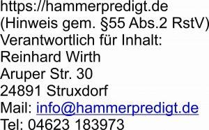 Hammerpredigt Impressum Adresse